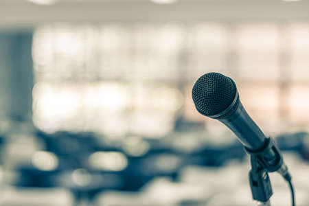 Microphone voice speaker in seminar classroom, lecture hall or conference meeting in educational business event for host, teacher, or coaching mentor