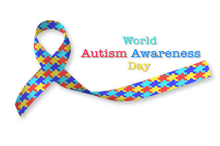 World Autism awareness day with puzzle pattern ribbon on white background Stock Photo