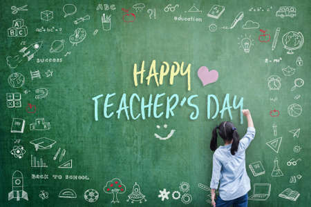 Happy Teacher's Day greeting for World teachers day concept with school student back view drawing doodle of of learning education graphic freehand illustration icon on green chalkboard