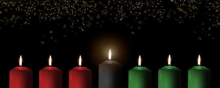 Kwanzaa for African-American cultural holiday celebration with candle light of seven candle sticks in black, green, red symbolising 7 principles of African Heritage (Nguzo Saba)  Stockfoto
