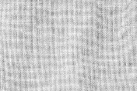 Hessischer Sackleinen gewebter Texturmusterhintergrund in hellweißer grauer Farbe