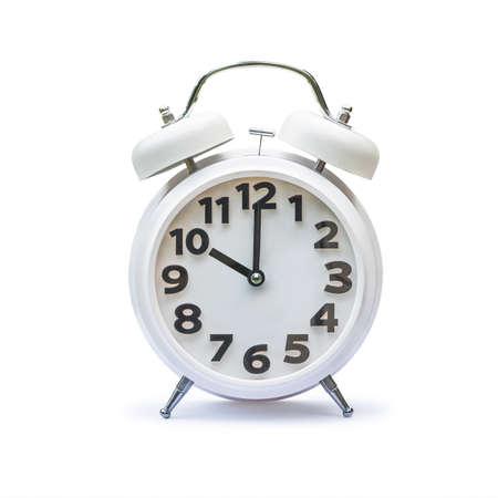 White alarm clock at 10 ten o'clock isolated on white background Banco de Imagens