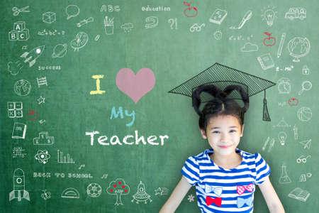 I love my teacher hand writing doodle on chalkboard for teacher appreciation week and world teacher day concept
