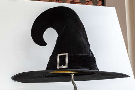 Halloween Witch wizard's hat in black isolated on white background for Autumn seasonal holiday costume