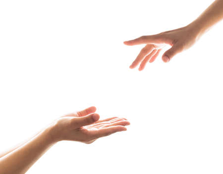 Charity donation concept with womens hand  in giving and receiving  gesture