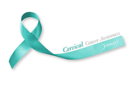 Teal ribbon for raising awareness on Cervical Cancer isolated on white background