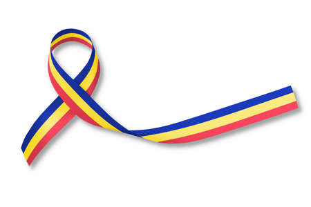 Red Yellow Blue Trisomy Awareness Month ribbon in March on isolated on white background