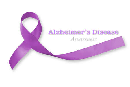Alzheimer's Disease (AD) Awareness text announcement with purple ribbon isolated on white background for World Alzheimers day (month) concept