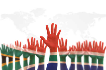 South Africa national flag on leader's palms  (clipping path) isolated on white background for human rights, leadership, reconciliation concept