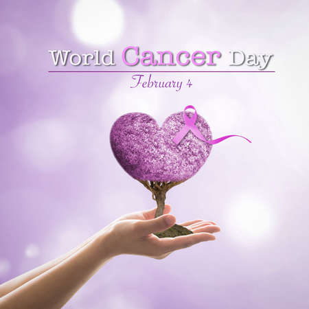World cancer day with lavender ribbon awareness on heart tree
