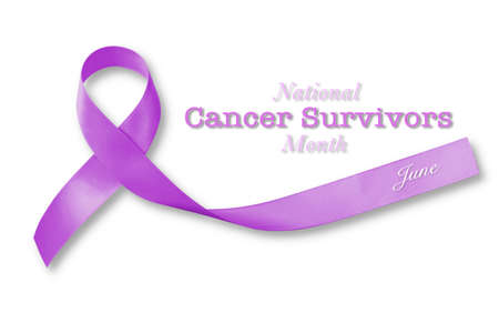 National cancer survivors month of June campaign by Lavender purple ribbon color isolated with clipping path