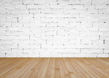 Brick wall painted in white with wooden floor textured background in natural yellow brown 版權商用圖片
