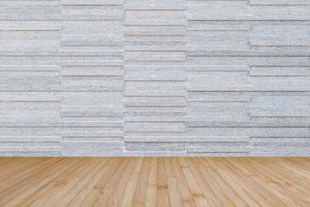 Modern granite tile wall pattern textured background in light grey color with wooden floor in yellow cream brown color tone