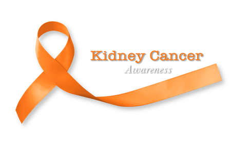 Kidney cancer awareness orange color ribbon isolated with clipping path
