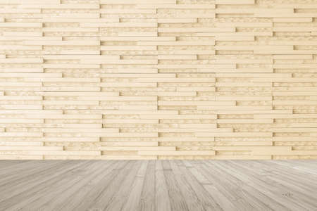 Modern marble tile wall pattern  background in light cream beige color with wooden floor in sepia grey tone
