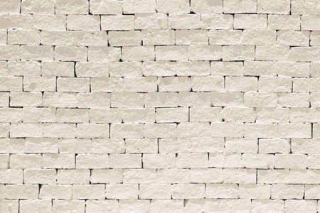 Old aged rough brick wall texture background painted in light cream sepia color in grunge style  Reklamní fotografie