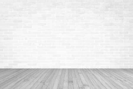 White brick wall with wooden floor textured background in light grey color