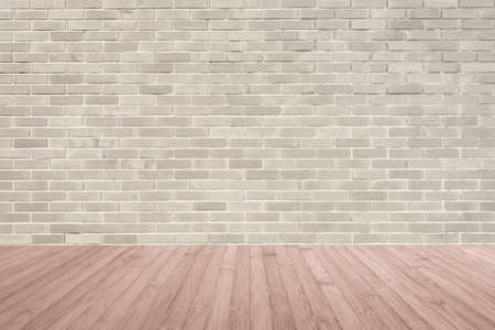 Sepia brown brick wall texture background with wooden floor in red brown