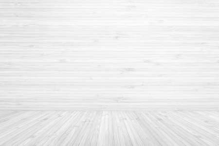 Wooden floor and wall room background in white grey color