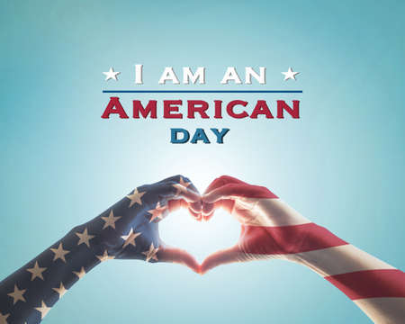 I am an American day with American flag pattern on people hands in heart shape