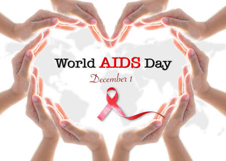 World aids day December 1 and red ribbon awareness raising support on people with HIV