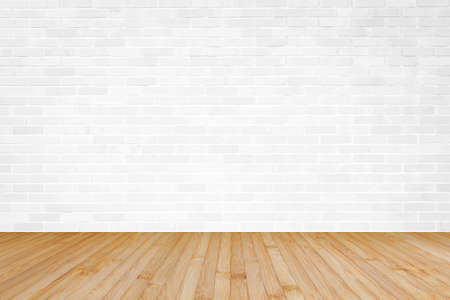White brick wall with wooden floor textured background in yellow brown color Archivio Fotografico