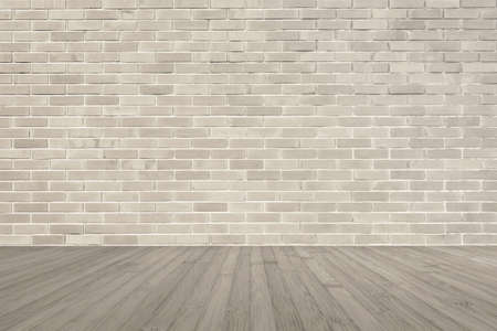 Sepia brown brick wall texture background with wooden floor