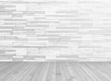 White grey brick tile textured wall with wood floor in light grey background for interior decoration