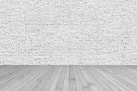 Wooden floor with granite stone brick tile wall aged texture pattern background in white grey color Zdjęcie Seryjne