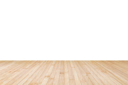 Isolated wood floor texture in natural yellow cream brown color on white wall background