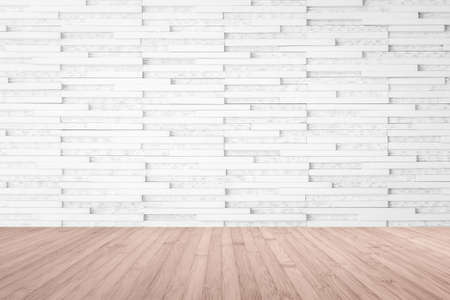 Modern marble tile wall pattern textured background in light white color with wooden floor in red brown