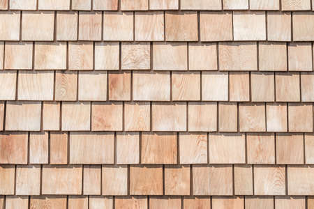 Shingle red cedar wooden shake wood siding row roof panel made of larch conifer tree