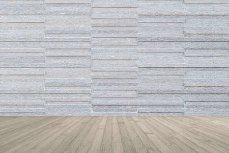 Modern marble tile wall pattern  background in light grey color with wooden floor in sepia brown tone