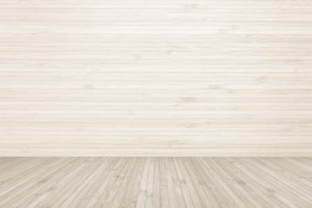 Wood texture background of floor and wall in light cream sepia brown color