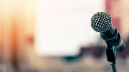 Microphone voice speaker in business seminar, speech presentation, town hall meeting, lecture hall or conference room in corporate or community event for host or townhall public hearing Reklamní fotografie