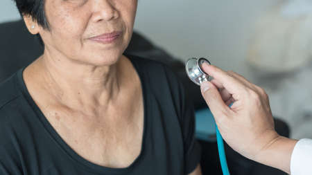 Elderly patient heart health check by medical geriatric doctor for awareness in stroke systolic high blood pressure, hypertension, hypotension and cardiovascular disease in aged senior older woman