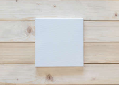 Blank canvas frame mockup rectangular size on white wood wall for arts painting and photo hanging interior decoration Stok Fotoğraf