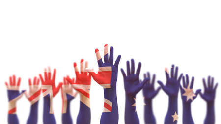 Australia day, Australian democratic election vote concept with national flag on people open palm hands raising in the air isolated on white background 版權商用圖片