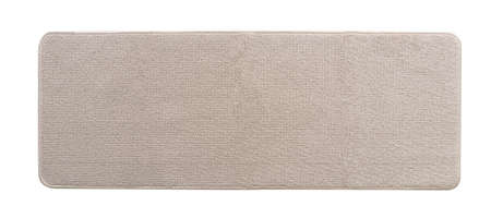 Carpet rug floor mat in beige color  on white background in long rectangular shape flat lay from top view for kitchen flooring mock-up and door mat rug mockup template 版權商用圖片