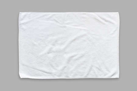 White cotton towel mock up template fabric wiper isolated on grey Standard-Bild
