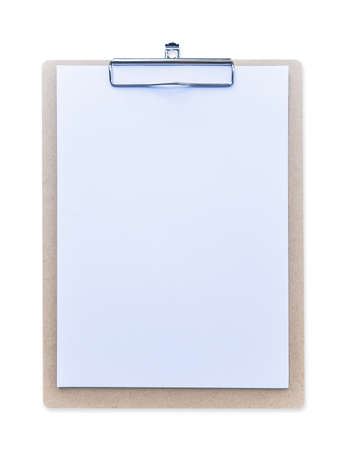 Clipboard mockup for letterhead background, clip note pad mock up with blank A4 size white page paper  isolated on white background Standard-Bild
