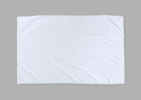 White towel mock up template cotton fabric wiper mockup isolated on grey background  flat lay top view 版權商用圖片