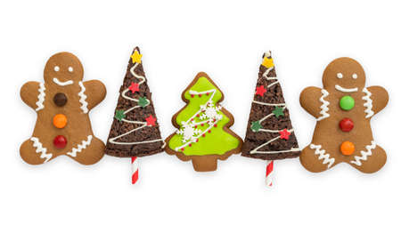 Christmas cookies, snowman, X'mas tree, gingerbread isolated on white background with clipping path for Xmas party holiday homemade  food design decoration template 版權商用圖片