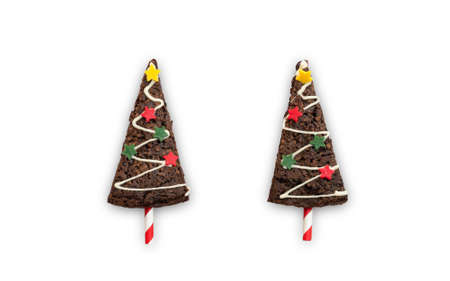 Christmas sweet, Xmas tree chocolate brownie isolated on white background for X-mas party holiday homemade  food design decoration template Zdjęcie Seryjne