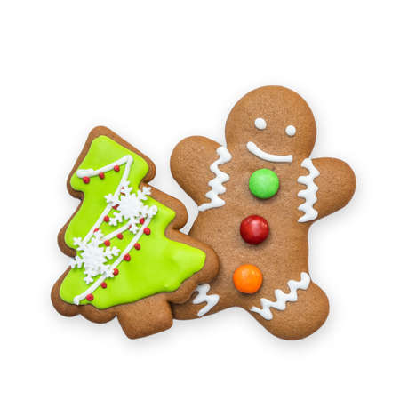 Christmas cookies, snowman, X'mas tree, gingerbread isolated on white background