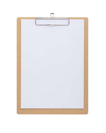 Clipboard mockup for letterhead background, clip note pad mock up with blank A4 size white page paper  isolated on white background  template for business memo and school supplies