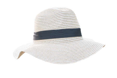 Straw hat isolated (clipping path) on white background in Panama fashion hat style for summer beach vacation sun screen protection for both men and women