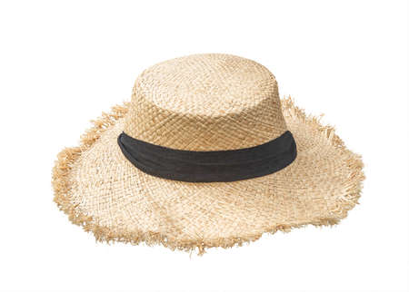 Straw hat isolated   on white background or beach hat in Panama fashion style for summer sun protection for both men and women