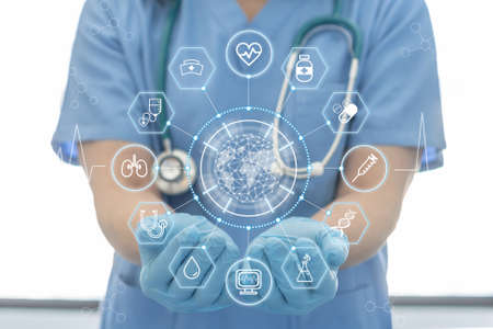 Medical tech science, ai health technology with surgical doctor on telehealth, telemedicine and iot global healthcare service analyzing online patient health record information data in hospital lab Zdjęcie Seryjne