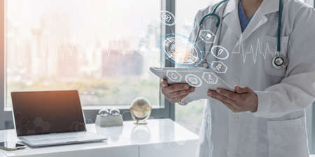 Medical tech science ai technology, innovative iot global healthcare with doctor on telehealth, telemedicine service analyzing online patient health record information data in hospital lab background